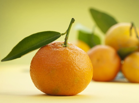 Photo for Ripe Tangerines with leaves - Royalty Free Image