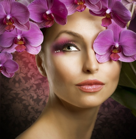 Beautiful Spring Girl With Orchid flowers