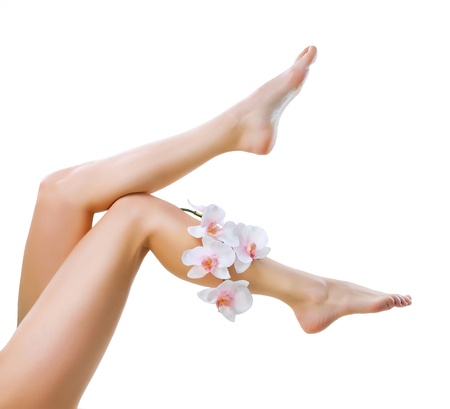 Photo for Healthy Legs  Spa  Long woman legs isolated on white - Royalty Free Image