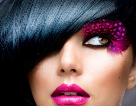 Fashion Brunette Model Portrait  Hairstyle