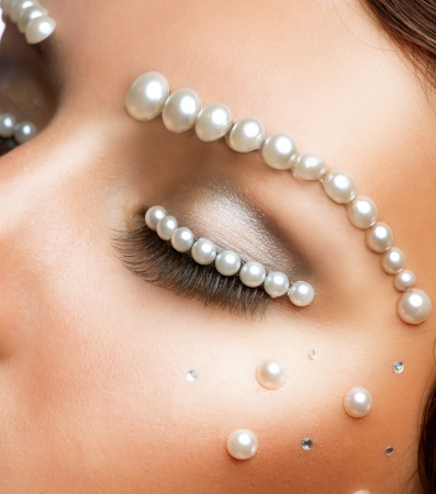 Creative Makeup With Pearls Beautiful Young Woman Portrait