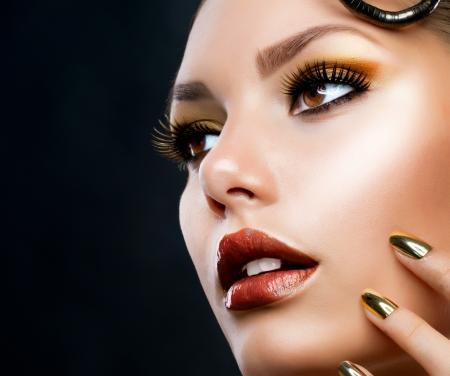 Golden Luxury Makeup  Fashion Girl Portrait