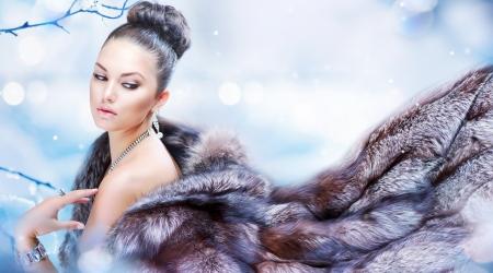 Beautiful Girl in Luxury Fur Coat