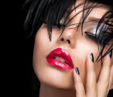 Fashion Art Girl Portrait Vivid Makeup
