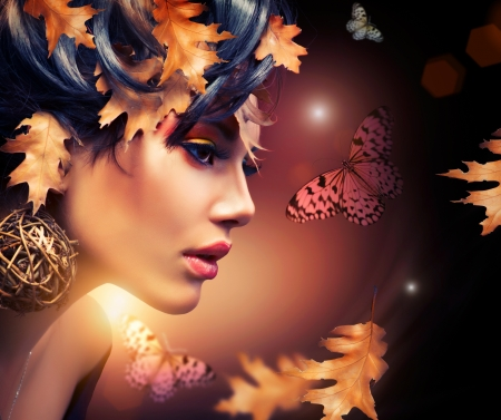 Foto de Autumn Woman Fashion Portrait  Fall  - Imagen libre de derechos