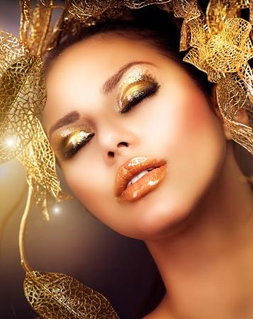 Fashion Glamour Makeup  Holiday Gold Makeup