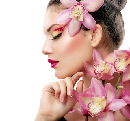 Photo for Beauty Portrait  Beautiful Stylish Girl with Orchid Flower  - Royalty Free Image