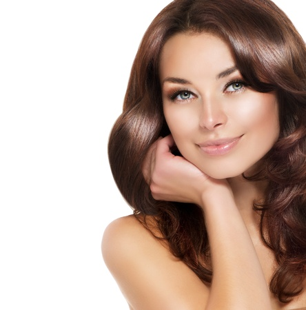 Photo for Beautiful Brunette Woman Portrait with healthy Hair - Royalty Free Image