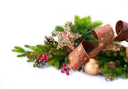 Photo pour Christmas Decoration  Holiday Decorations Isolated on White  - image libre de droit