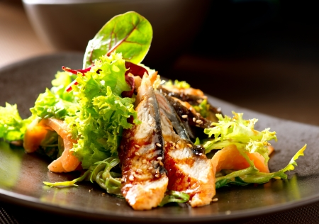 Salad With Smoked Eel with Unagi Sauce  Japanese Food