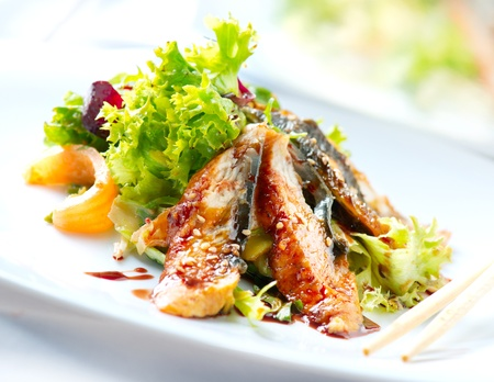 Salad With Smoked Eel with Unagi Sauce  Japanese Food