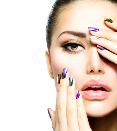 Photo pour Fashion Beauty  Manicure and Make-up  Nail Art  - image libre de droit