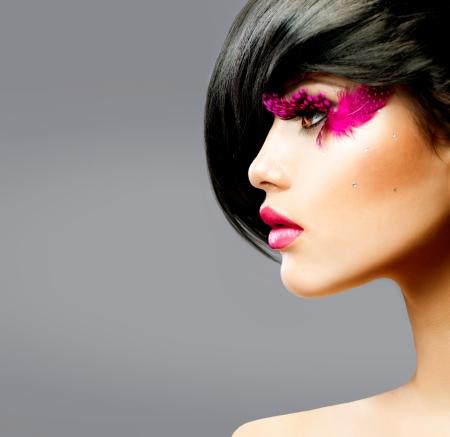 Photo pour Fashion Brunette Model Portrait  - image libre de droit
