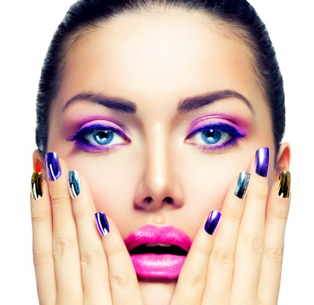 Beauty Makeup  Purple Make-up and Colorful Bright Nails