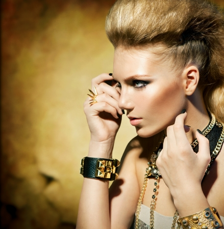 Fashion Rocker Style Model Girl Portrait Sepia toned