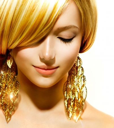 Beauty Blonde Fashion Model Girl With Golden Earrings