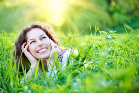 Foto de Beautiful Young Woman Outdoors  Enjoy Nature  - Imagen libre de derechos