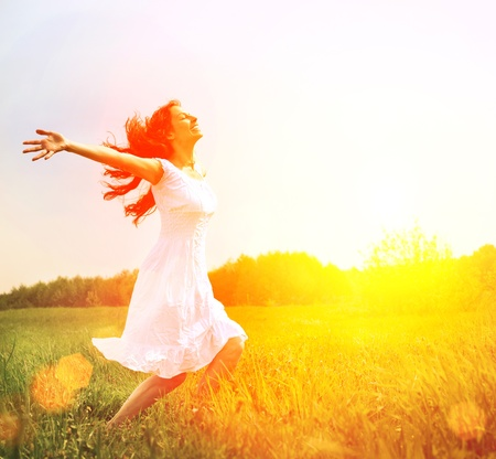 Photo for Enjoyment  Free Happy Woman Enjoying Nature  Girl Outdoor  - Royalty Free Image