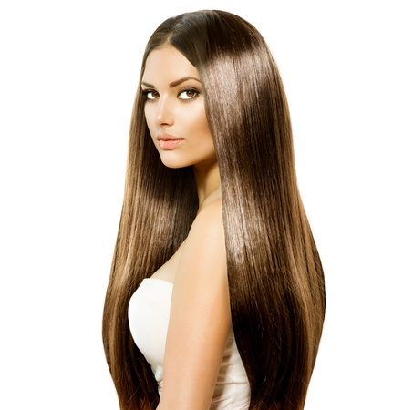 Photo pour Beauty Woman with Long Healthy and Shiny Smooth Brown Hair  - image libre de droit