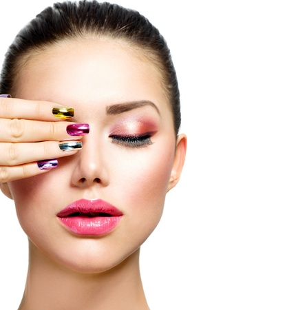 Fashion Beauty  Woman With Colorful Nails and Luxury Makeup