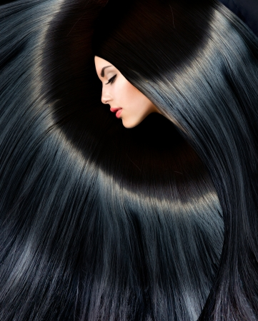 Photo pour Healthy Long Black Hair  Beauty Brunette Woman - image libre de droit