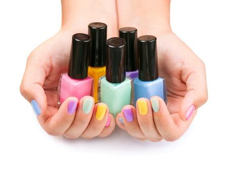 Foto de Nail Polish  Manicure  Colorful Nail Polish Bottles - Imagen libre de derechos