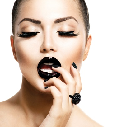 Photo for Vogue Style Fashion Girl with Trendy Caviar Black Manicure  - Royalty Free Image