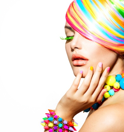 Foto de Beauty Girl Portrait with Colorful Makeup, Hair and Accessories  - Imagen libre de derechos