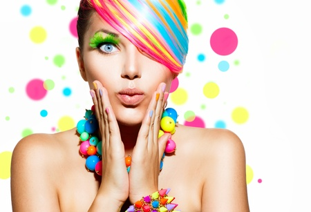 Photo pour Beauty Girl Portrait with Colorful Makeup, Hair and Accessories  - image libre de droit