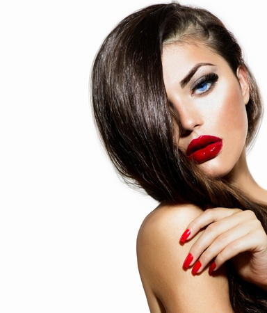 Photo pour Sexy Beauty Girl with Red Lips and Nails  Provocative Make up  - image libre de droit