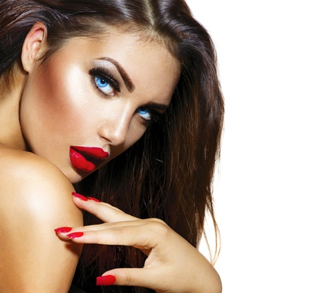 Foto de Sexy Beauty Girl with Red Lips and Nails  Provocative Make up  - Imagen libre de derechos
