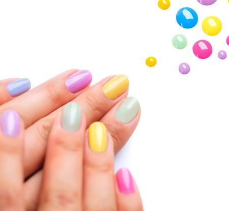 Photo for Nail Polish  Trendy Colourful Manicure  - Royalty Free Image