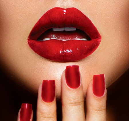Photo for Red Sexy Lips and Nails closeup  Manicure and Makeup - Royalty Free Image