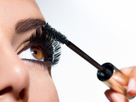 Mascara Applying  Long Lashes closeup