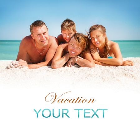 Foto de Happy Family Having Fun at the Beach  Vacation concept - Imagen libre de derechos