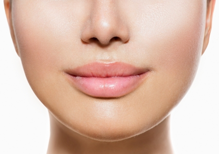 Foto de Beautiful Perfect Lips  Sexy Mouth Closeup over white  - Imagen libre de derechos