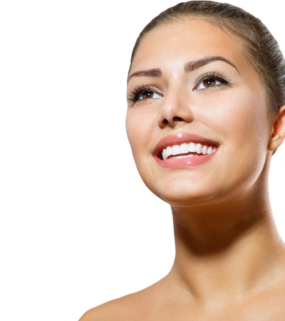 Photo pour Teeth Whitening  Beautiful Smiling Young Woman Portrait  - image libre de droit