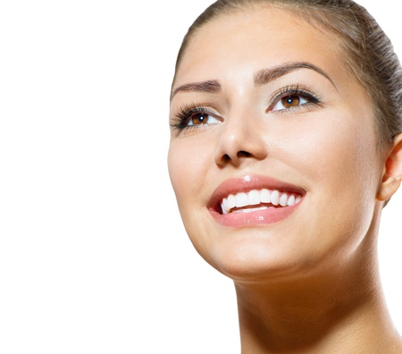 Teeth Whitening  Beautiful Smiling Young Woman Portrait