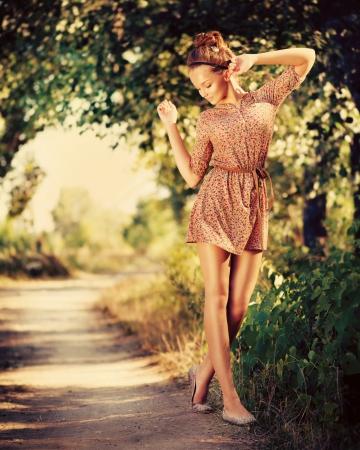 Foto für Beauty Romantic Girl Outdoor  Beautiful Teenage Model  - Lizenzfreies Bild