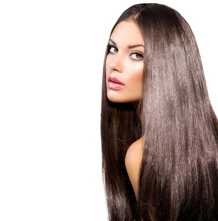 Foto de Long Healthy Straight Hair  Model Brunette Girl Portrait  - Imagen libre de derechos