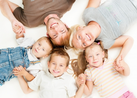 Foto de Happy Big Family Together on White Background  - Imagen libre de derechos