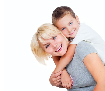 Foto de Happy Mother with Son isolated on a White Background  - Imagen libre de derechos