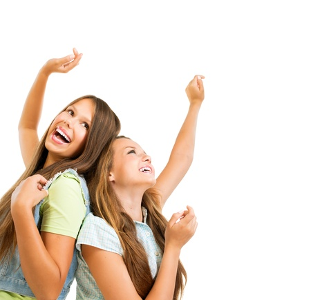 Photo for Happy Teenage Girls Dancing  Beauty Teenagers Having Fun  - Royalty Free Image