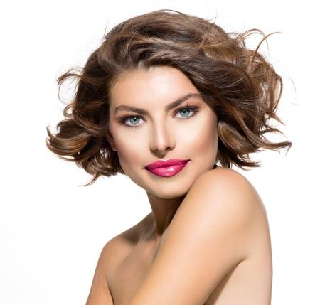 Photo pour Beauty Young Woman Portrait over White Background - image libre de droit
