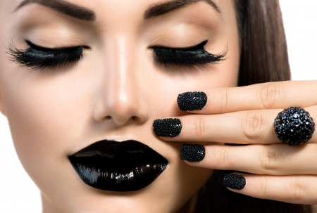 Photo for Beauty Fashion Girl with Trendy Caviar Black Manicure and Makeup  - Royalty Free Image