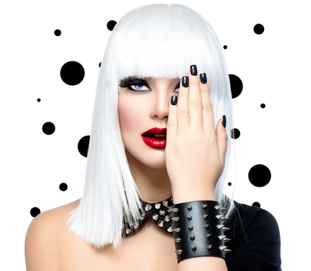 Foto de Fashion Beauty Model Girl  Punk Style Woman isolated on White  - Imagen libre de derechos