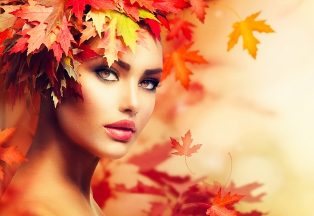 Foto de Autumn Woman Portrait  Beauty Fashion Model Girl - Imagen libre de derechos