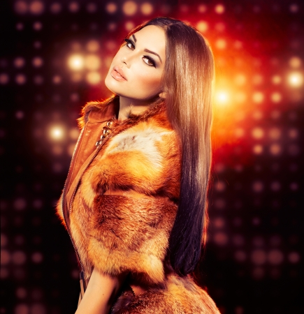 Photo for Beauty Fashion Model Girl in Fox Fur Coat  - Royalty Free Image