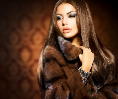 Photo for Beauty Fashion Model Girl in Mink Fur Coat - Royalty Free Image