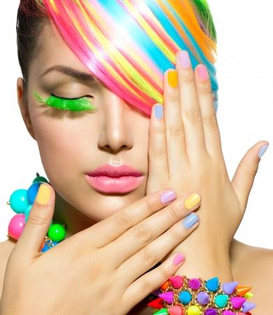 Photo pour Beauty Girl Portrait with Colorful Makeup, Hair and Accessories  - image libre de droit